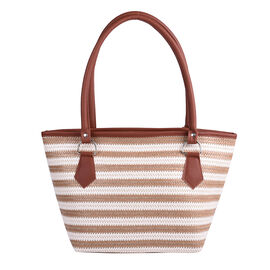 Light Brown and Cream Vertical Stripe Pattern Tote Bag (Size 42x16x25cm)