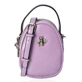 100% Genuine Leather Purple Colour Bee Crossbody Bag (Size 13x7x13.8 Cm) with Detachable Shoulder St