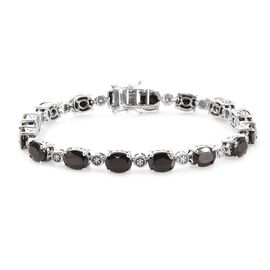 11.25 Ct Shungite and Zircon Tennis Bracelet in Platinum Plated Silver 14.28 Grams 7.5 Inch