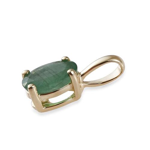 9K Yellow Gold AA Kagem Zambian Emerald (Ovl) Pendant 0.450 Ct.