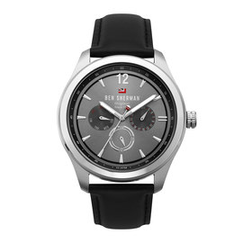 BEN SHERMAN Cool Grey Sunray Dial Watch with Black Leather Strap