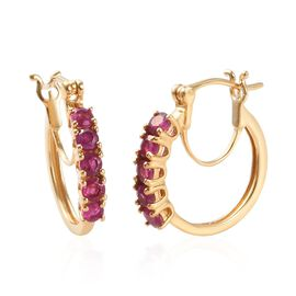 African Ruby (Rnd) Hoop Earrings (with Clasp) in 14K Gold Overlay Sterling Silver 1.500 Ct.