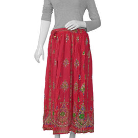 Sequin Embellished Raspberry Colour Skirt (Free Size) - Length - 38 Inches