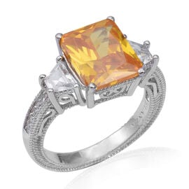 ELANZA Simulated Yellow Sapphire and Diamond Classic Ring in Rhodium Plated Silver 5.27 Grams