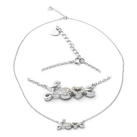 ELANZA Simulated Diamond (Rnd) Adjustable Necklace (Size 17.5 with 1 inch Extender) in Rhodium Overl