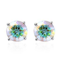 1.50 Ct Mercury Mystic Topaz Solitaire Stud Earrings in Sterling Silver