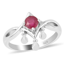 LucyQ Shooting Star Collection - African Ruby (FF) Ring in Rhodium Overlay Sterling Silver