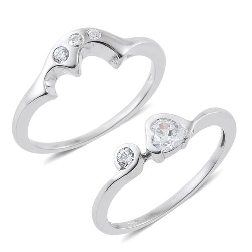 J Francis - Platinum Overlay Sterling Silver (Rnd) 2 Ring Set Made with SWAROVSKI ZIRCONIA