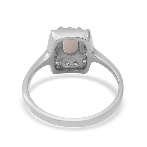 Ethiopian Welo Opal and Natural Cambodian White Zircon Ring in Rhodium Overlay Sterling Silver 1.23 Ct