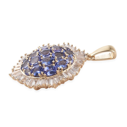 9K Yellow Gold AA Tanzanite (Ovl), Natural Cambodian Zircon Cluster Pendant 5.250 Ct.