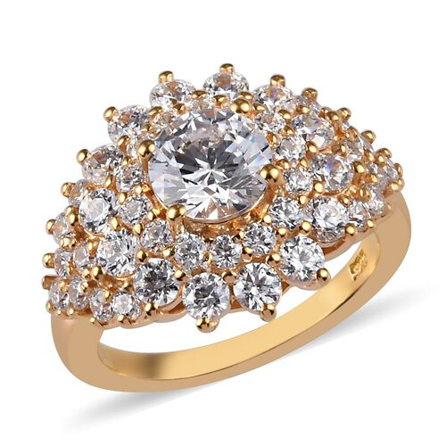 J Francis - 14K Yellow Gold Overlay Sterling Silver Cluster Ring Made with SWAROVSKI ZIRCONIA 4.76 C