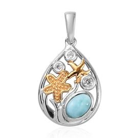 Larimar and Natural Cambodian Zircon Starfish Pendant in Platinum and Yellow Gold Overlay Sterling S