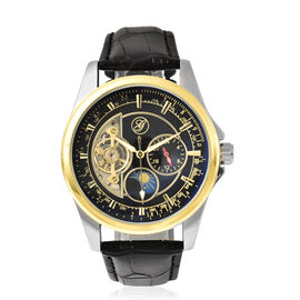 GENOA Automatic Mechanical Movement Skeleton Black Dial Water Resistant Watch with Black Strap