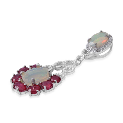 Designer Inspired-African Ruby (Ovl), Ethiopian Welo Opal and Natural Cambodian White Zircon Pendant in Rhodium Overlay Sterling Silver 3.860 Ct.