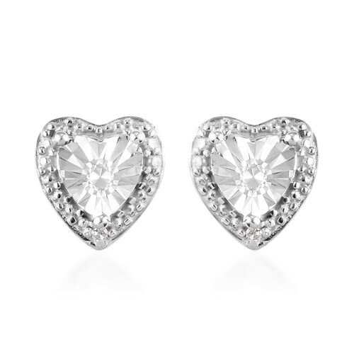 Diamond Heart Stud Earrings (with Push Back) in Platinum Overlay Sterling Silver
