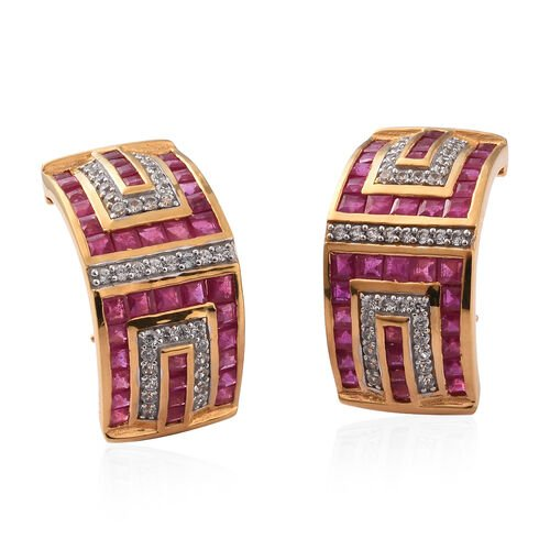 African Ruby and Natural Cambodian Zircon Earrings in 14K Gold Overlay Sterling Silver 9.75 Ct.