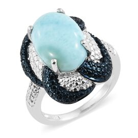Larimar (Ovl) Solitaire Ring in Platinum Overlay Sterling Silver 6.500 Ct. Silver wt 7.69 Gms.