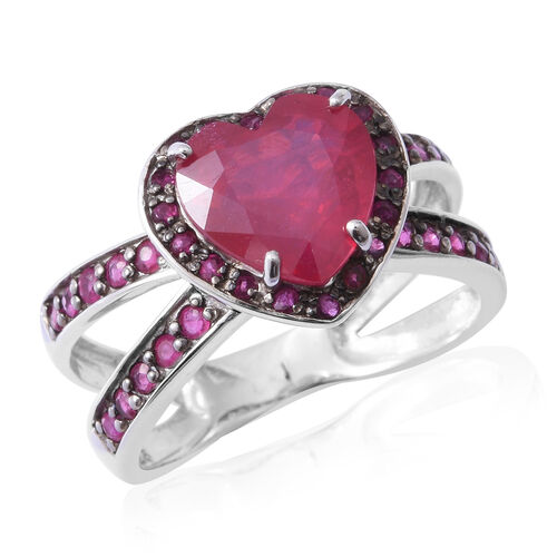 African Ruby (Hrt 4.70 Ct), Burmese Ruby Heart Ring in Rhodium and Black Overlay Sterling Silver 5.6