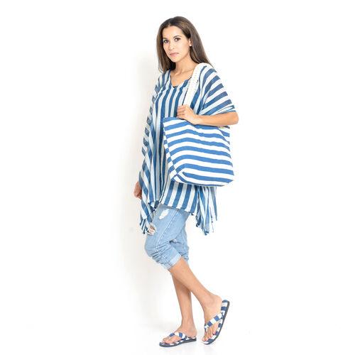 100% Cotton Blue and White Colour Stripe Printed Kaftan (Free Size), Bag (Size 50x40 Cm) and Flip Fl