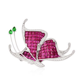 Lustro Stella Simulated Ruby, Simulated Peridot and Simulated Diamond Butterfly Brooch in Rhodium Ov