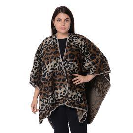 Leopard Pattern Kimono (Size 115x140 Cm) - Black, White and Brown
