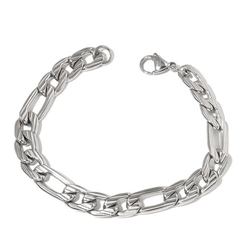 Stainless Steel Figaro Necklace (Size 20) and Bracelet (Size 8)