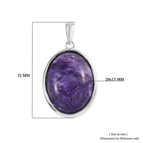 Collectors Edition - AAA Russian Charoite (Ovl 20x15 mm) Pendant in Platinum Overlay Sterling Silver 15.00 Ct.