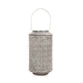 Home Decor - Grey Colour Laser Cut Floral Pattern Lantern with LED T Light