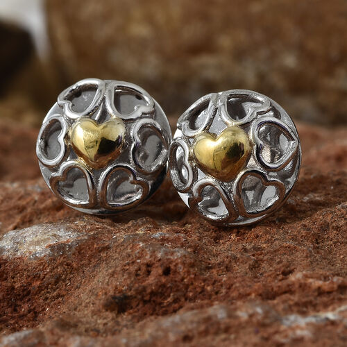 Platinum and Yellow Gold Overlay Sterling Silver Stud Heart Earrings (with Push Back)