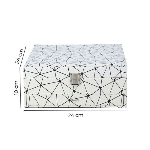 Spider Web Pattern 2-Layer Jewellery Box in White and Black