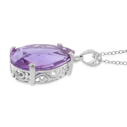 Rose De France Amethyst (Pear) Pendant With Chain in Rhodium Plated Sterling Silver 13.750 Ct.