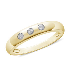 9K Yellow Gold SGL Certified Diamond (Rnd) (I3/G-H) Trilogy Band Ring 0.15 Ct.
