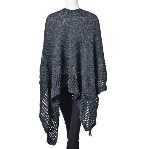 Black Colour Crochet Pattern Knitted Cardigan (Size 130X58 Cm)