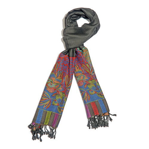 Designer Inspired-Black, Red, Blue and Multi Colour Floral and Leaves Pattern Scarf with Fringes (Si