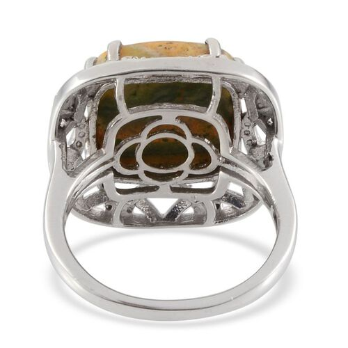 Bumble Bee Jasper (Cush 8.25 Ct), Diamond Ring in Platinum Overlay Sterling Silver 8.280 Ct.