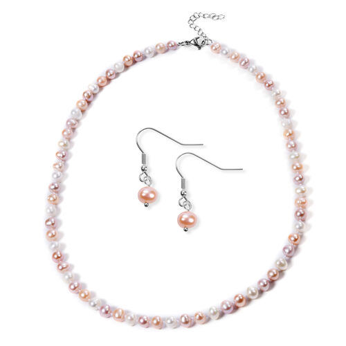 2 Piece Set -  Peach and Multi Colour Freshwater Pearl  Neckalce (Size 20 with 2 inch Extender) and