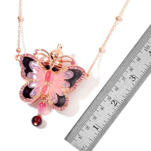 Turkish Style Perfume Bottle Necklace (Size 27) with Simulated Pink Cats Eye, Simulated Golden Pearl, Simulated Ruby, Pink and Black Austrian Crystal in Yellow Gold Tone