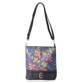 Blue and Multi Colour Flower Pattern Crossbody Bag with Removable and Adjustable Shoulder Strap (Siz