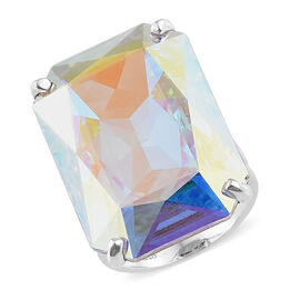Crystal from Swarovski - Swarovski AB Crystal (26.00 Ct) Platinum Overlay Sterling Silver Ring  26.000  Ct.