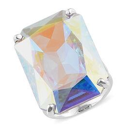 Crystal from Swarovski - Swarovski AB Crystal (26.00 Ct) Platinum Overlay Sterling Silver Ring  26.000  Ct.