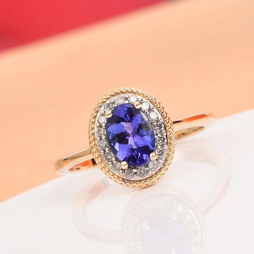 9K Yellow Gold AAA Premium Tanzanite and Diamond Ring 1.00 Ct.