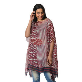 100% Mulberry Silk Kaftan One Size (90x100 Cm) - Burgundy and White