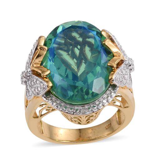 Peacock Quartz (Ovl), Diamond Ring in 14K Gold Overlay Sterling Silver 17.760 Ct.