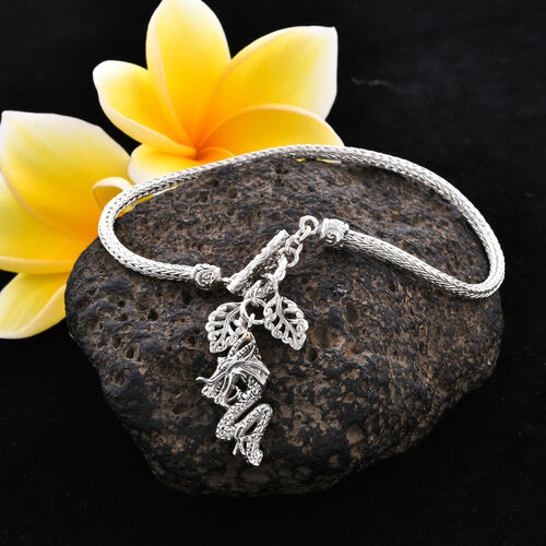 Royal Bali Collection - Sterling Silver Tulang Naga Bracelet (Size 7.5) with Leaves and Dragon Charm, Silver wt 9.50 Gms