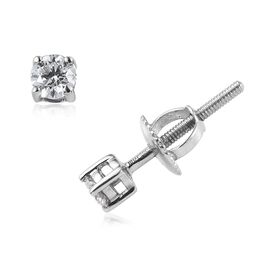 RHAPSODY 0.20 Ct Diamond Solitaire Stud Earrings in 950 Platinum IGI Certified VS EF with Screw Back