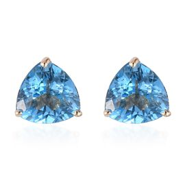 9K Yellow Gold Swiss Blue Topaz Stud Earrings 2.75 Ct.