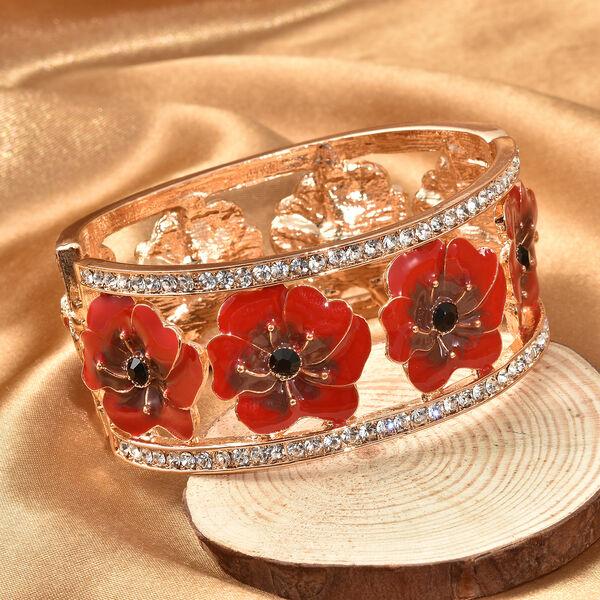 Black and White Austrian Crystal (Rnd) Poppy Flower Enamelled Bangle (Size 7.5) in Gold Tone