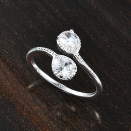 J Francis Sterling Silver Bypass Ring Made with SWAROVSKI ZIRCONIA 1.06 Ct.