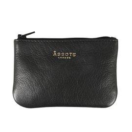 Assots London POPPY Full Grain Leather Zip Top Coin Purse (Size 12x8cm) - Black