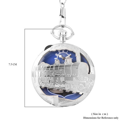 STRADA Japanese Movement Train Pattern Water Resistant Music Pocket Watch with Chain (Size 14) in Silver Tone